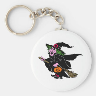 Halloween Witch Basic Round Button Key Ring