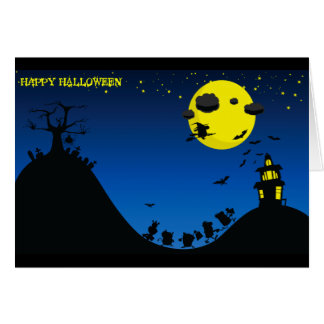 Halloween Witch, Bats, House / Greeting Card