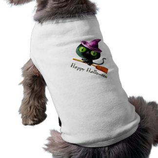 Halloween Witch Black Cat Sleeveless Dog Shirt