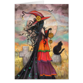 Halloween Witch Black Cat Graveyard Fantasy Art Greeting Card