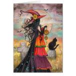 Halloween Witch Black Cat Graveyard Fantasy Art Greeting Card