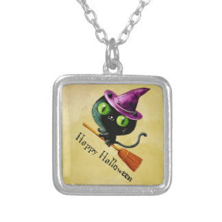Halloween Witch Black Cat Square Pendant Necklace