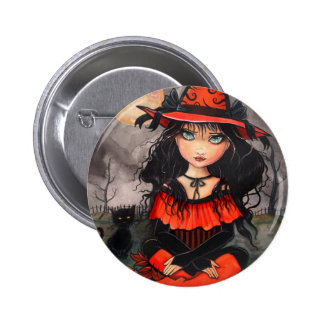 Halloween Witch Button Pin by Molly Harrison