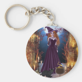 Halloween Witch by Candlelight Key Ring