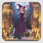 Halloween Witch by Candlelight Square Sticker