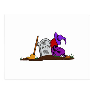 Halloween Witch by Tombstone Post Card