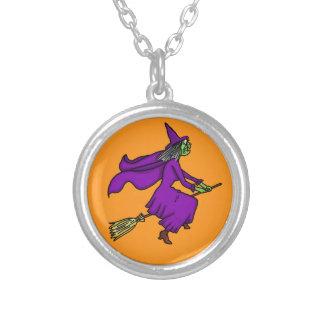 Halloween Witch Cartoon Round Pendant Necklace