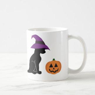 Halloween Witch Cat and Pumpkin Basic White Mug