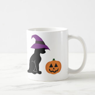 Halloween Witch Cat and Pumpkin Classic White Coffee Mug