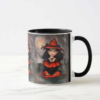 Halloween Witch Cat Mug by Molly Harrison