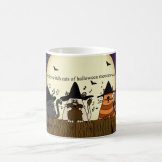 halloween witch cat mug, three cats on a fence