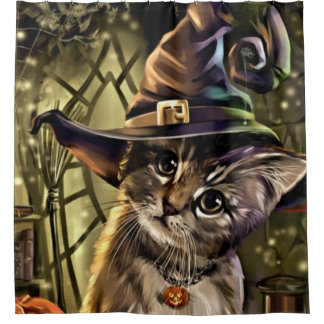Halloween Witch Cat Shower Curtain