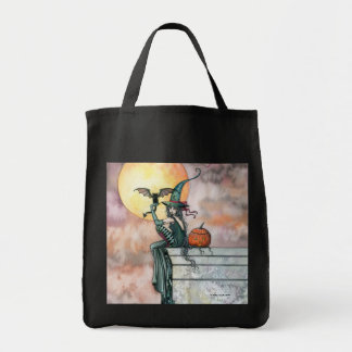 Halloween Witch Cat Tote Bag by Molly Harrison