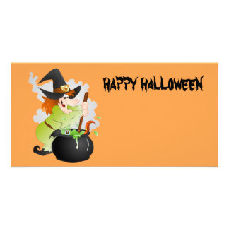 Halloween Witch Customised Photo Card