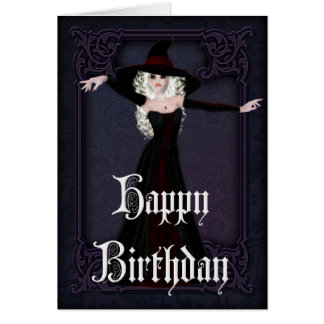 Halloween Witch Fall Season Happy Birthday Card