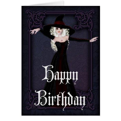 Halloween Witch Fall Season Happy Birthday Card