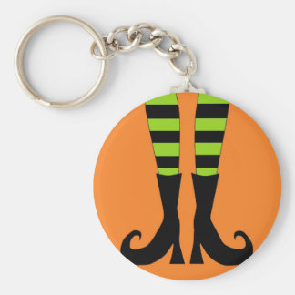 Halloween Witch Feet in Green Orange Background Key Ring
