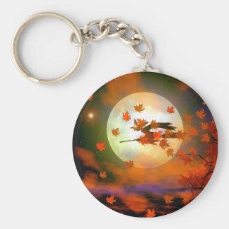 Halloween Witch Flight Basic Round Button Key Ring