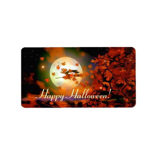 Halloween Witch Flight Gift Tag Address Label