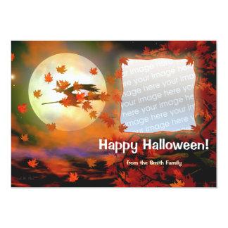 Halloween Witch Flight Photo Card 13 Cm X 18 Cm Invitation Card