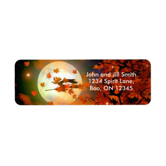 Halloween Witch Flight Return Address Label