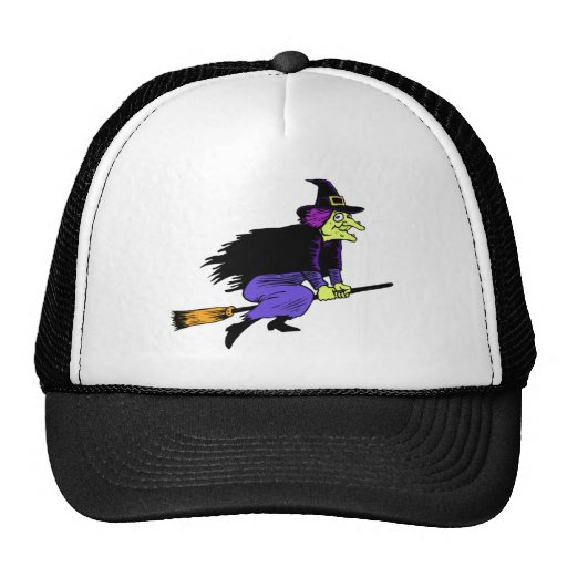 Halloween Witch Flying On A Broomstick Hats