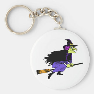 Halloween Witch Flying On A Broomstick Key Chain