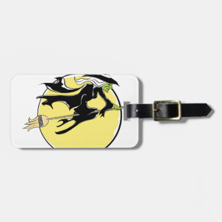 Halloween Witch Flying on Broom Luggage Tags