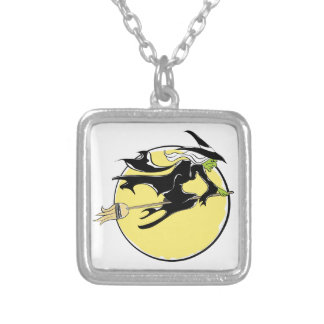 Halloween Witch Flying on Broom Square Pendant Necklace
