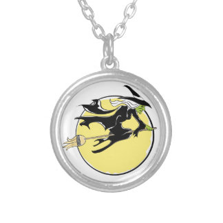 Halloween Witch Flying on Broom Round Pendant Necklace