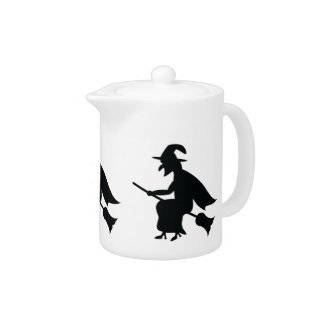 Halloween Witch Flying On Broom Silhouette