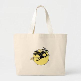 Halloween Witch Flying on Broom Jumbo Tote Bag