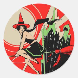 Halloween Witch Flying (vintage) Round Sticker