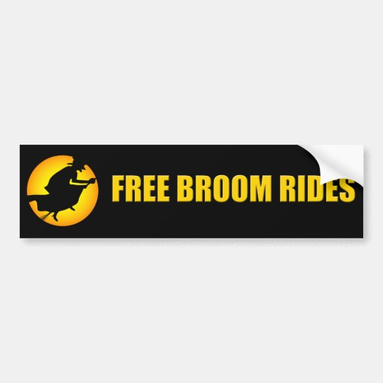 Halloween Witch Free Broom Rides Bumper Sticker