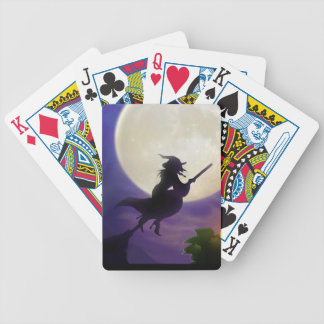 Halloween Witch Full Moon Bicycle Playing Cards