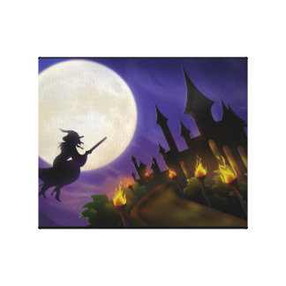 Halloween Witch Full Moon Canvas Prints