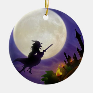 Halloween Witch Full Moon Round Ceramic Decoration