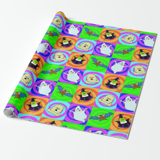 Halloween Witch Ghost Bat Skull Icon Matt Wrapping Paper