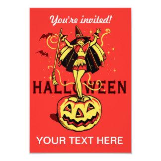 Halloween Witch Girl (vintage) 9 Cm X 13 Cm Invitation Card