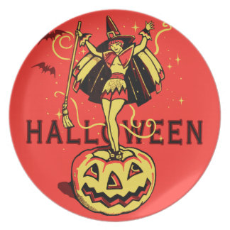 Halloween Witch Girl (vintage) Plate