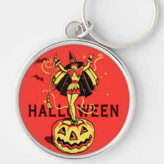 Halloween Witch Girl (vintage) Silver-Colored Round Key Ring