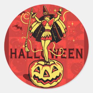 Halloween Witch Girl (vintage) Round Sticker