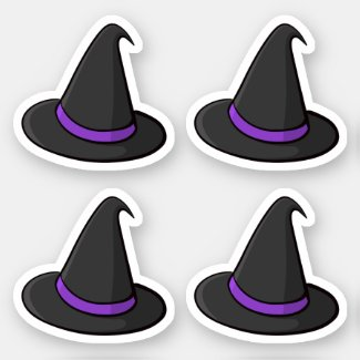 Halloween witch hat stickers, set of four stickers