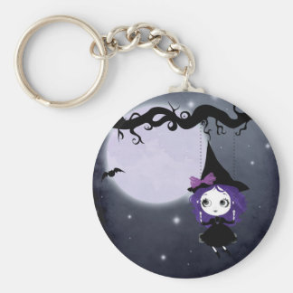 Halloween Witch Keychan Basic Round Button Key Ring