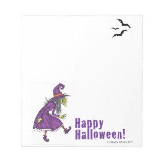 Halloween witch notepad, fun cartoon gift notepad