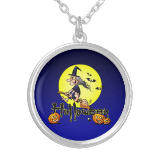 Halloween, witch on a broom, bats and pumpkins jewelry
