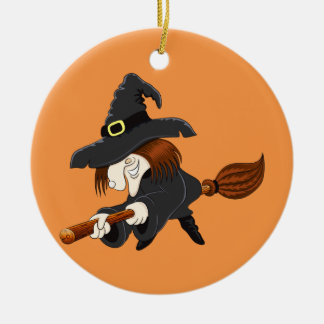 Halloween Witch on a broom Christmas Ornament