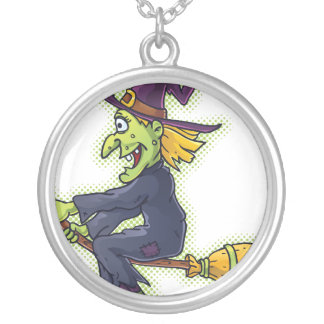 Halloween Witch on a Broom Round Pendant Necklace