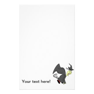 Halloween witch on a broom stationery design