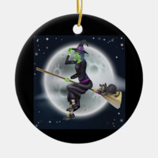 Halloween witch on a broom with cat christmas ornament